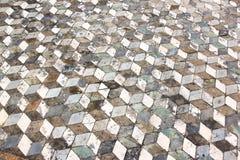 几何样式地板在古老庞贝城,意大利 库存照片