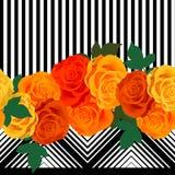 几何样式有玫瑰背景 皇族释放例证