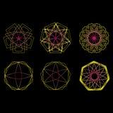 几何样式象星占星术集合五角星形 库存照片
