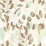 几何植物的在传染媒介的印刷品无缝的样式 库存例证
