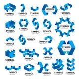 几何模块传染媒介商标的汇集  免版税库存图片