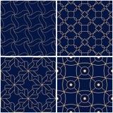 几何模式 套金黄蓝色无缝的背景 库存图片