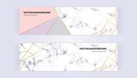 几何横幅有金子线、灰色,粉红彩笔颜色和大理石纹理背景 设计的模板,卡片,飞行物, invit 库存例证