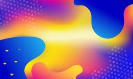 几何盖子 梯度五颜六色的条纹构成 凉快的现代霓虹蓝色颜色 抽象可变的形状 液体和流动海报 f 向量例证