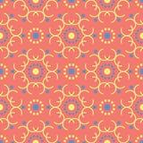 几何红色橙色无缝的样式 与蓝色和黄色设计的明亮的背景 免版税库存照片
