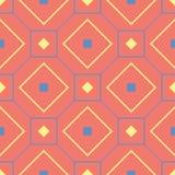 几何红色橙色无缝的样式 与蓝色和黄色设计的明亮的背景 库存照片