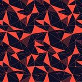 几何线与三角,小点的行家无缝的样式 网状的抽象线性栅格 减速火箭的剪贴薄 向量 免版税库存图片