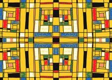 几何背景在蒙德里安栅格样式 流行艺术样式 与抽象正方形的无缝的装饰品 库存例证