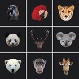 几何色的动物集合 免版税图库摄影