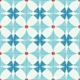 几何蓝色红色ikat无缝的样式 免版税库存照片