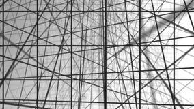 几何螺旋有白方块抽象运动白色背景 黑线栅格任意地翻转与白色 皇族释放例证
