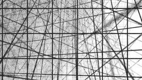 几何螺旋有白方块抽象运动白色背景 黑线栅格任意地翻转与白色 库存例证