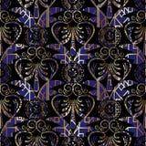 几何被仿造的希腊关键无缝的样式 库存照片
