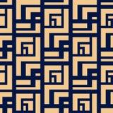 几何装饰品 金黄蓝色无缝的样式 图库摄影