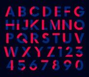 几何装饰色的字体,传染媒介字母表 库存图片