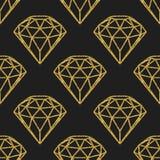 几何金黄箔金刚石的无缝的样式在黑背景的 时髦行家水晶设计 免版税库存图片