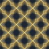 几何阿拉伯无缝的样式 伊斯兰纹理 金黄回教装饰品背景 库存例证