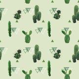 几何仙人掌厂无缝的样式 异乎寻常的热带夏天植物的背景 免版税库存图片