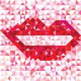 几何嘴唇的无缝的爱样式 向量例证