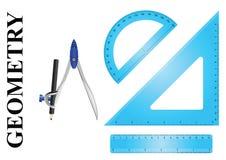 几何仪器集合 库存例证