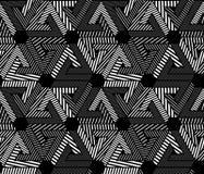 几何黑白无缝的样式,不尽 图库摄影