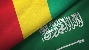 几内亚和沙特阿拉伯旗子纺织品布料 库存例证
