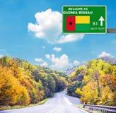 几内亚比绍反对清楚的天空蔚蓝的路标 免版税图库摄影