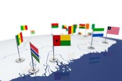 几内亚比绍旗子 免版税库存照片