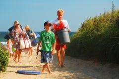 几天末端,垄沟抱怨海滩, Montauk 库存图片