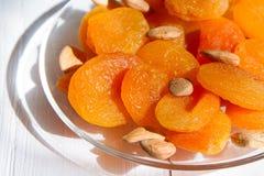 几干果、杏干和杏子种子 图库摄影