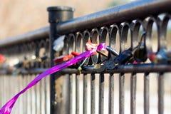 几座城堡和猩红色丝带在篱芭 图库摄影