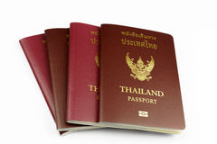 几本泰国护照有白色背景 免版税库存照片