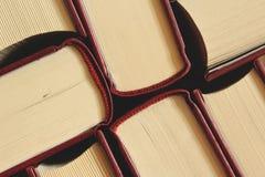 几本褐色书在桌里 免版税库存照片