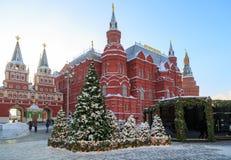 几根美丽的积雪的冷杉木在正方形站立在历史博物馆的大厦附近 免版税库存照片