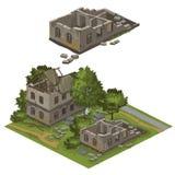 几棵被毁坏的大厦和树,传染媒介城市 库存例证