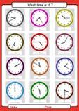 几点是它,何时是,得出时间,学会告诉时间 库存图片