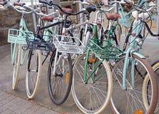 几辆Lekker莫名其妙的话自行车停放在自行车商店外面 库存照片