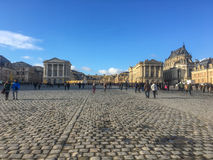凡尔赛宫长远看法在一个晴朗的冬天下午的法国 库存照片