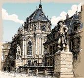 凡尔赛教堂葡萄酒手拉的视图  库存例证