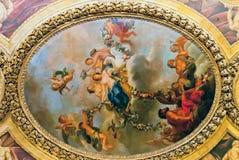 凡尔赛巴黎,法国- 12月30 :在她的天花板绘画 库存图片