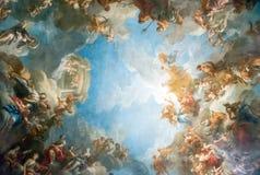 凡尔赛巴黎,法国- 4月18 :天花板绘画 免版税库存照片