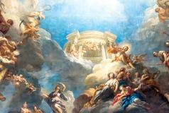 凡尔赛巴黎,法国- 4月18 :天花板绘画 库存图片