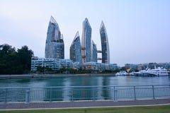 凯佩尔海湾的,新加坡小游艇船坞 库存照片