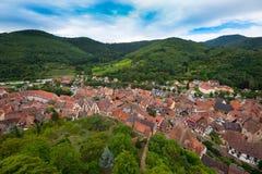 凯塞尔斯贝尔美丽的村庄在阿尔萨斯 库存图片