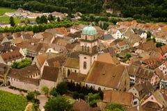凯塞尔斯贝尔,阿尔萨斯,法国鸟瞰图  免版税库存照片
