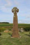 凯尔特十字架,圣徒新娘墓地, Pembrokeshire海岸 免版税图库摄影