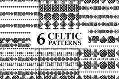 凯尔特结无缝的黑白样式集合 六种族抽象背景 向量例证