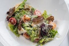 凯撒干酪包括油煎方型小面包片穿戴的叶子巴马干酪长叶莴苣沙拉海鲜 库存图片