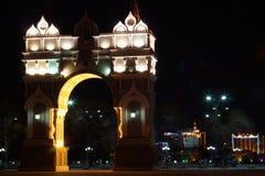 凯旋式曲拱的晚上 免版税库存图片