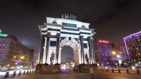 凯旋门在有圣诞节的莫斯科 影视素材